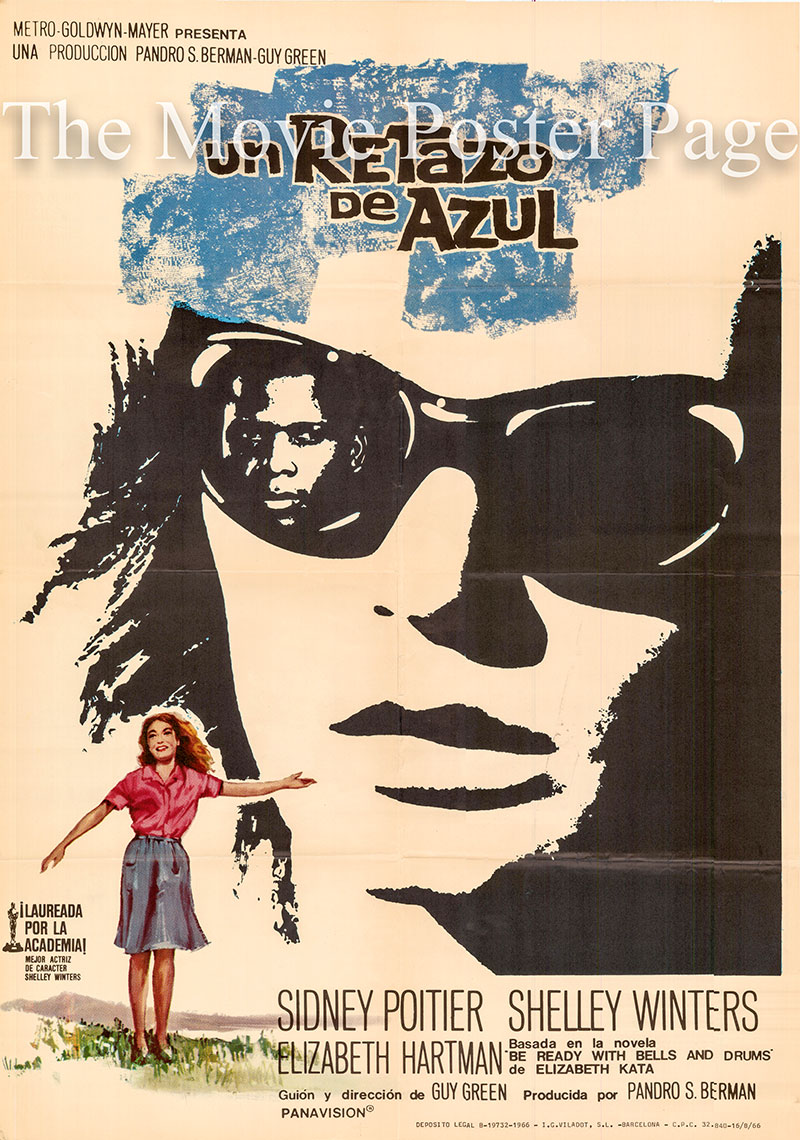 Pictured is a Spanish one-sheet poster for the 1965 Guy Green film A Patch of Blue starring Sidney Poitier as Gordon Ralfe.
