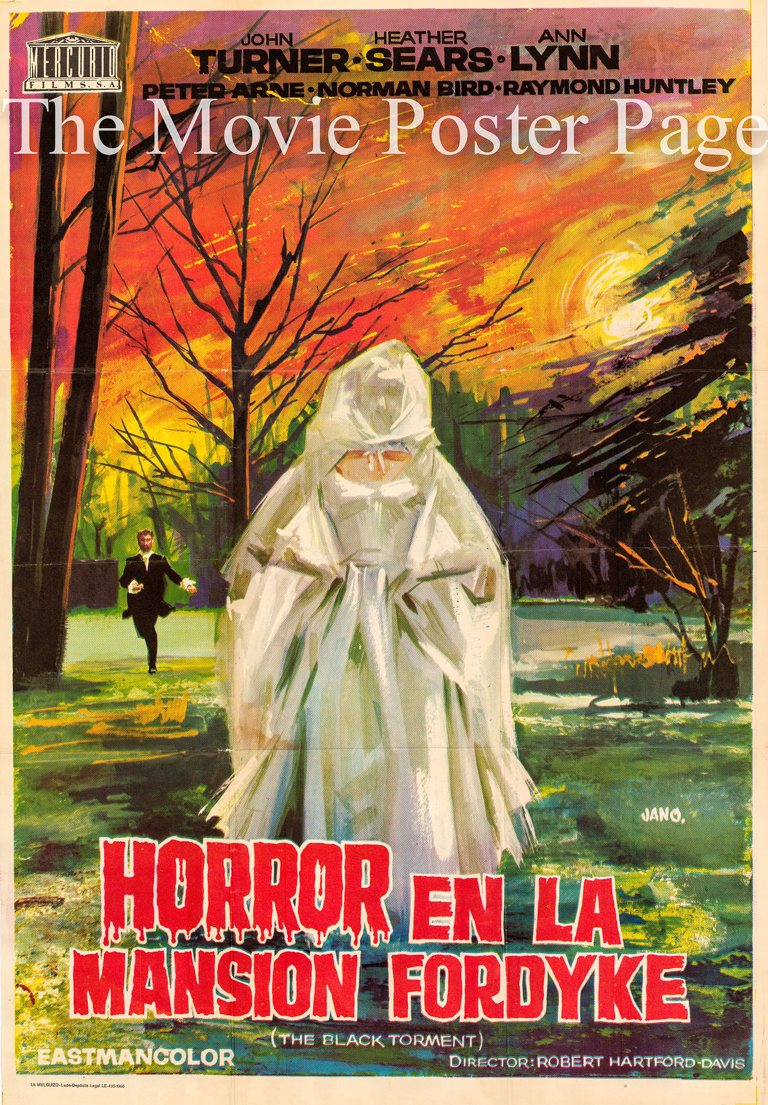 Pictured is a Spanish promotional poster a 1966 rerelease of the 1964 Robert Hartford-Davis film The Black Torment starring Heather Sears.