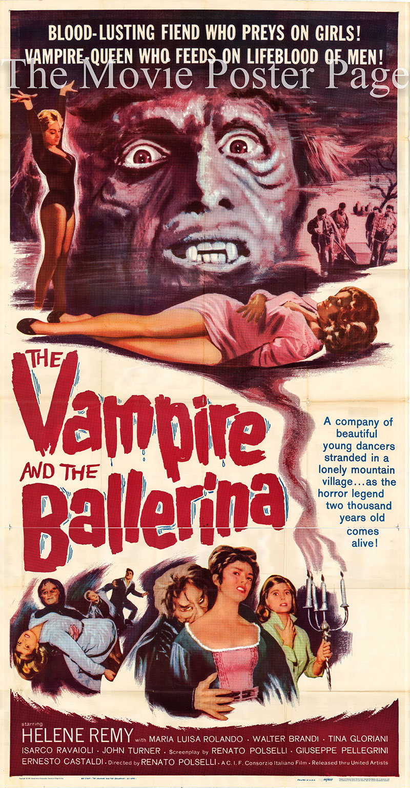 Pictured is a US three-sheet poster for a 1962 rerelease of the 1960 Renato Polselli film The Vampire and the Ballerina starring Helene Remy as Luisa.