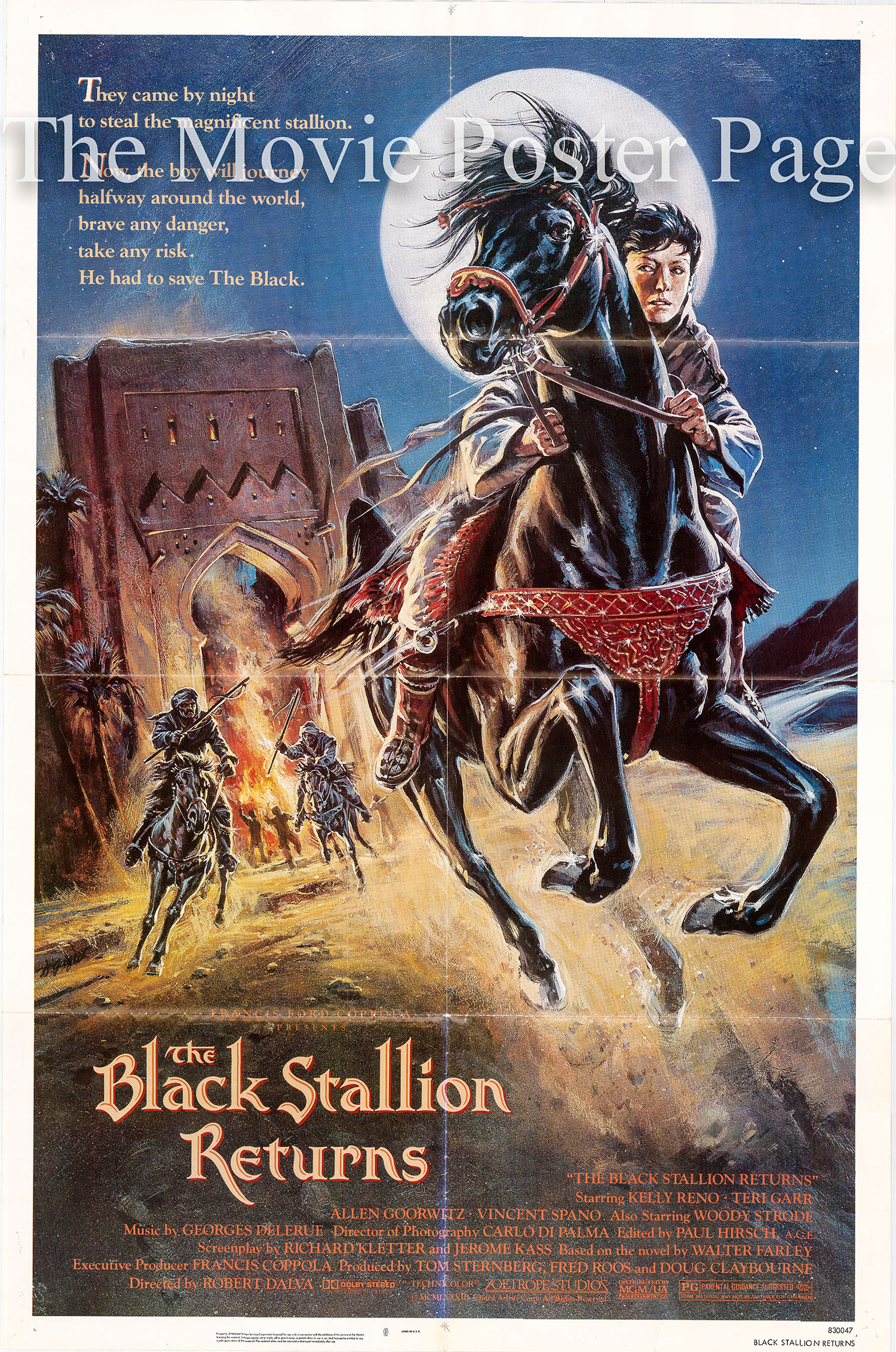 Pictured is a US one-sheet poster for the 1983 Robert Dalva film The Black Stallion Returns, starring Kelly Reno as Alec Ramsay.