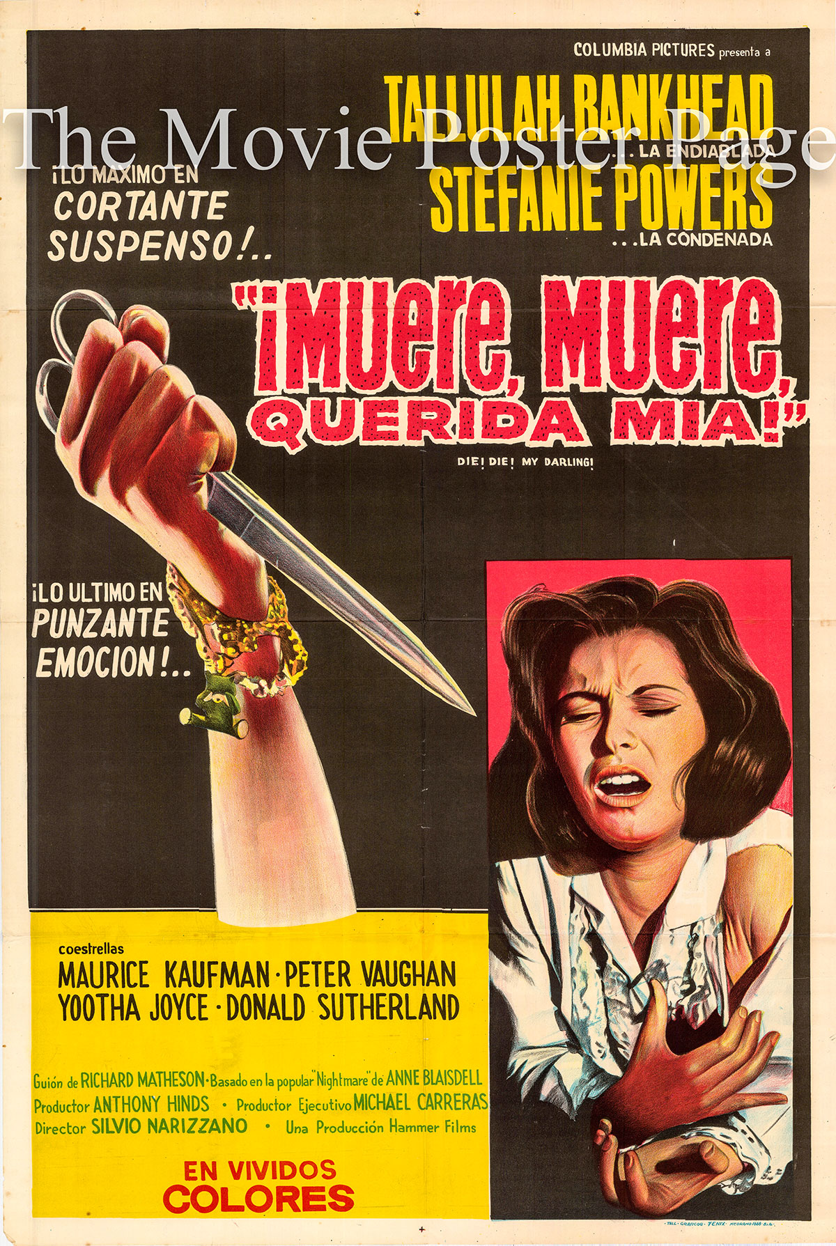 Pictured is an Argentine promotional poster for the 1965 Silvio Narizzano film Die! Die! My Darling! starring Tallulah Bankhead as Mrs. Trefoile.