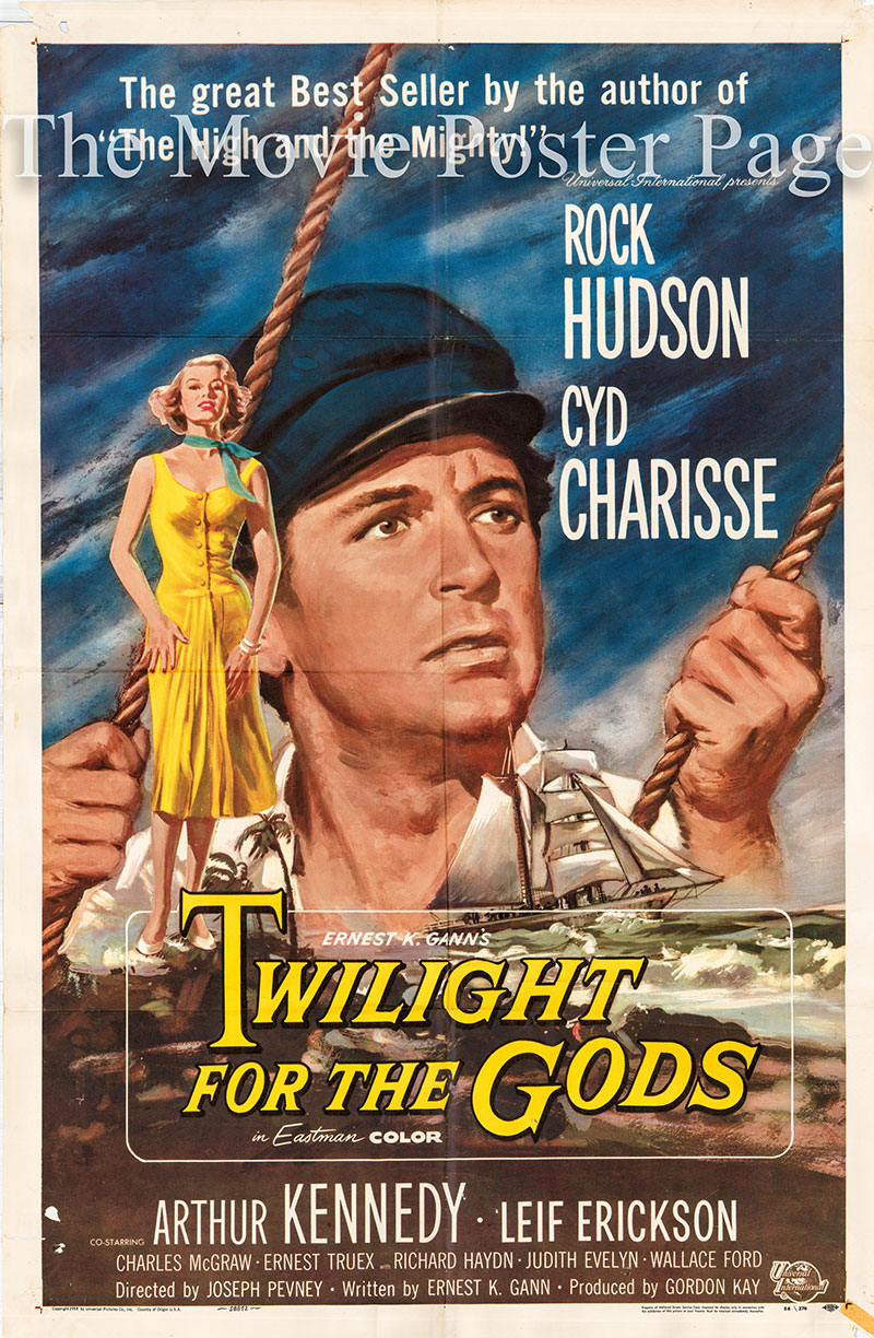 Pictured is a US one-sheet poster for the 1958 Ernest K. Gann film Twilight for the Gods starring Rock Hudson as Captain David Bell.