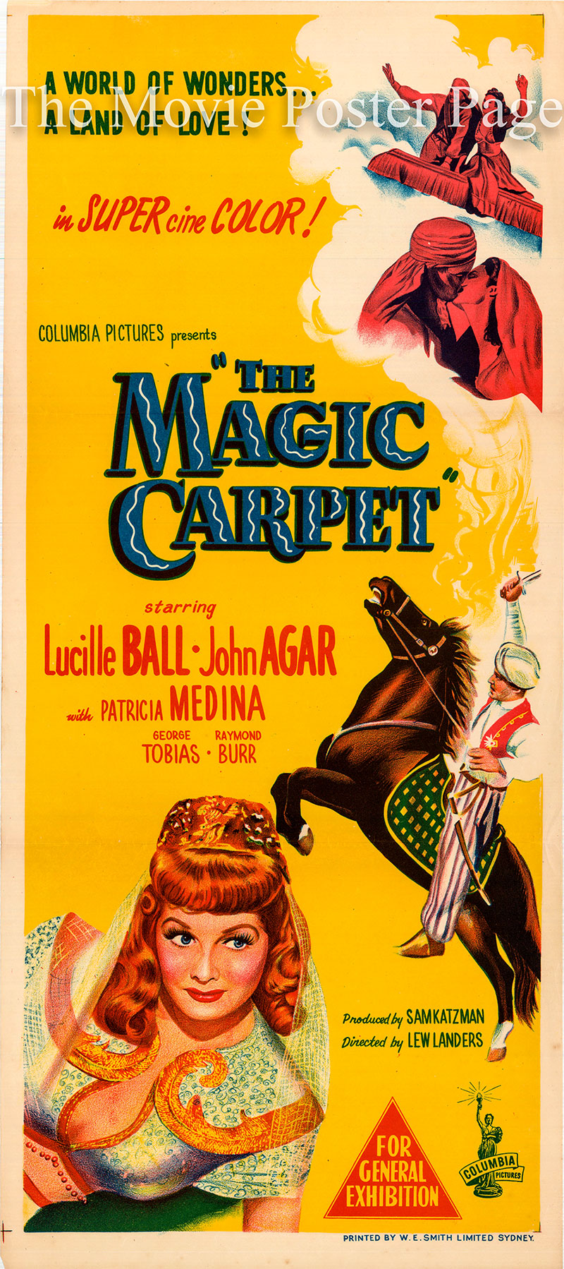 Pictured is an Australian Day Bill for the 1951 Lew Landers film The Magic Carpet starring Lucille Ball.