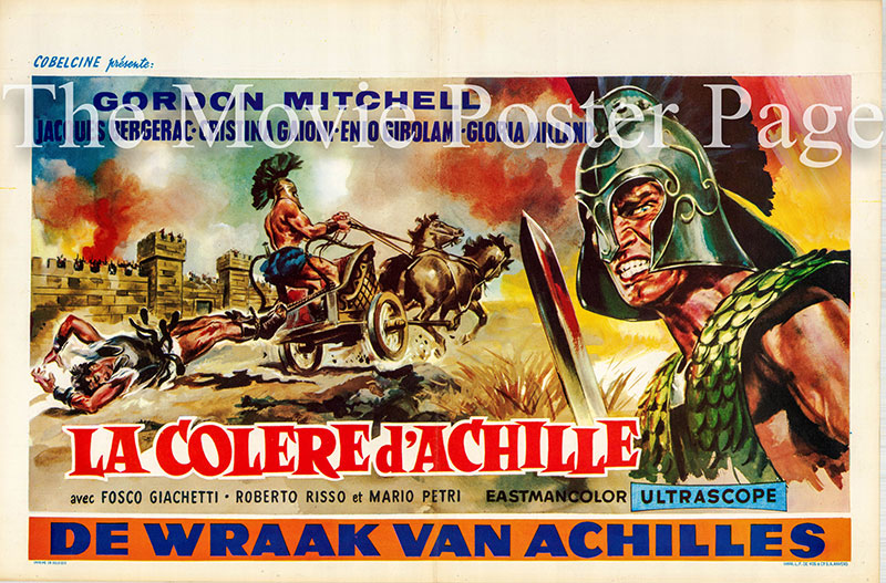Pictured is a Belgian promotional poster for the 1962 Mario Girolami film Fury of Achilles, starring Gordon Mitchell.