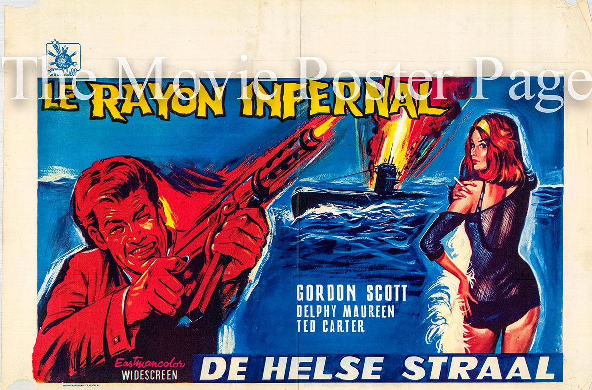 Pictured is a Belgian promotional poster for the 1967 Frank G. Carroll film Danger!! Death Ray starring Gordon Scott as Bart Fargo.