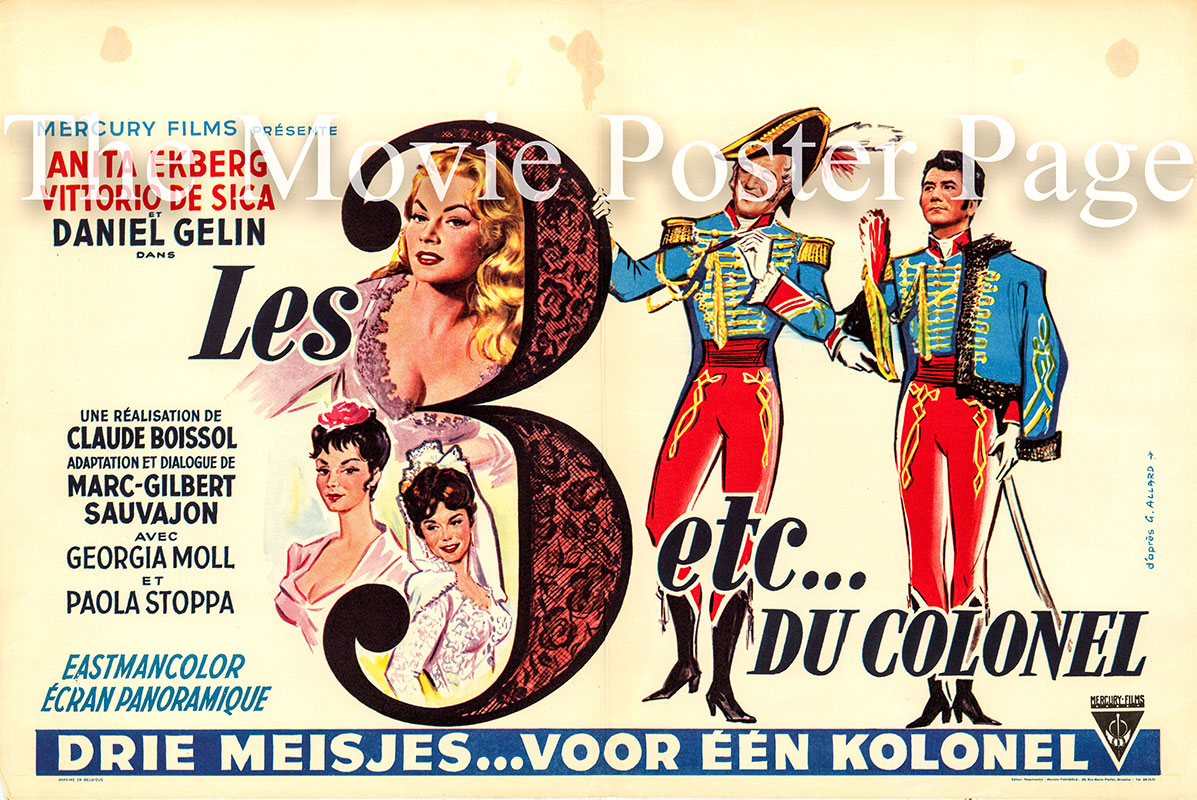 Pictured is a Belgian poster for the 1960 Claude Boissol film Three Etc.'s and the Colonel starring Vittorio De Sica as Colonel Belalcacar.