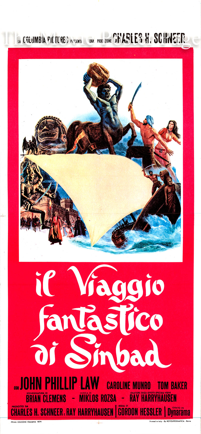 Pictured is an Italian locandina poster for the 1973 Gordon Hessler film <i>The Golden Voyage of Sinbad</i> starring John Phillip Law as Sinbad.