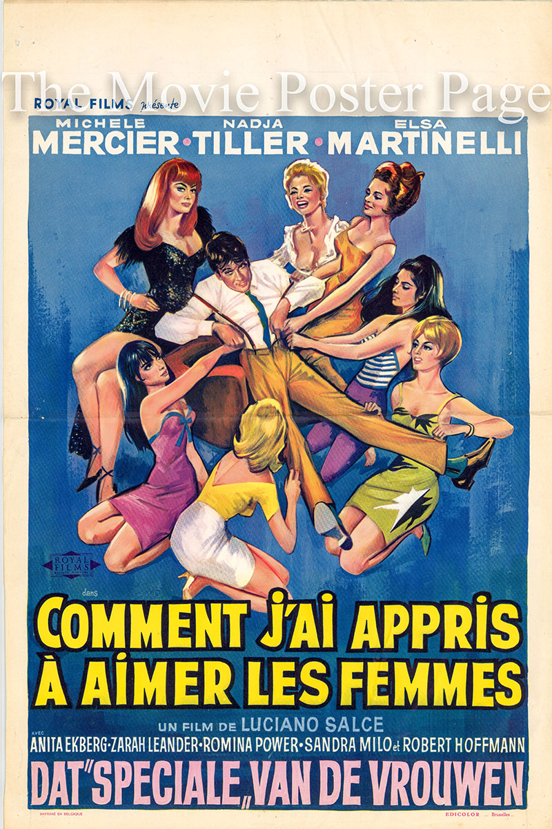 This is a Belgian promotional poster for the 1966 Luciano Salce film How I Learned to Love Women starring Nadja Tiller.