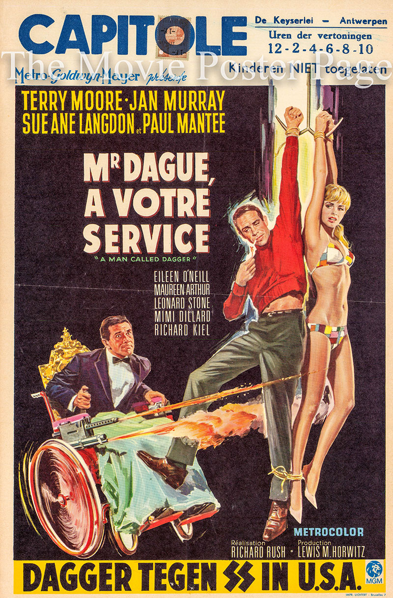 Pictured is a Belgian promotional poster for the 1967 Richard Rush film A Man Called Dagger starring Paul Mantee as Dick Dagger.