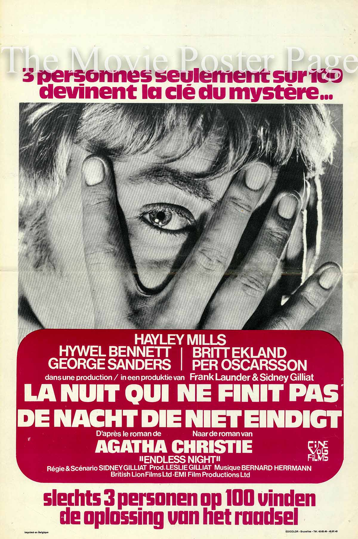 Pictured is a Belgian promotional poster for the 1971 Sidney Gilliat film Endless Night starring Hayley Mills as Fenella 'Ellie' Thomsen.