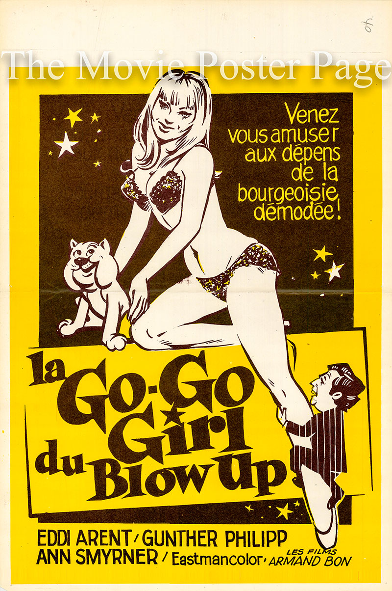 Pictured is a Belgian promotional poster for the 1969 Rolf Olsen film Das Go-Go-Girl vom Blow UP starring Eddi Arent as Dr. Adler.