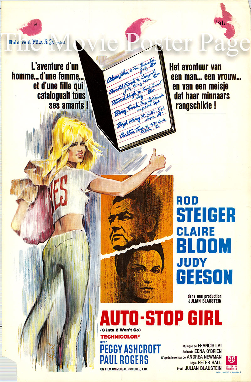 Pictured is a Belgian poster for the 1969 Peter Hall film Three into Two Won't Go starring Rod Steiger as Steve Howard.