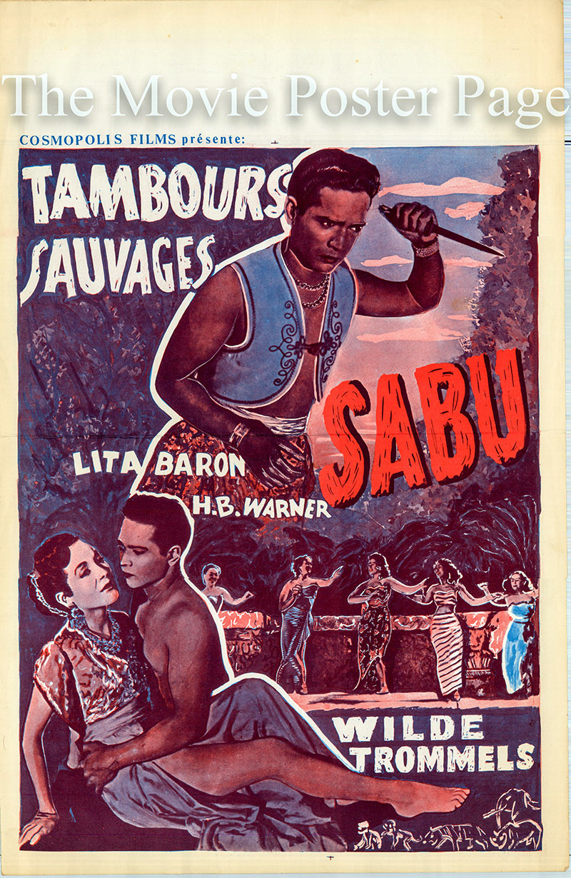 This is a Belgian poster for the 1951 Wiliam Berke film Savage Drums starring Sabu as Tipo Tairu.