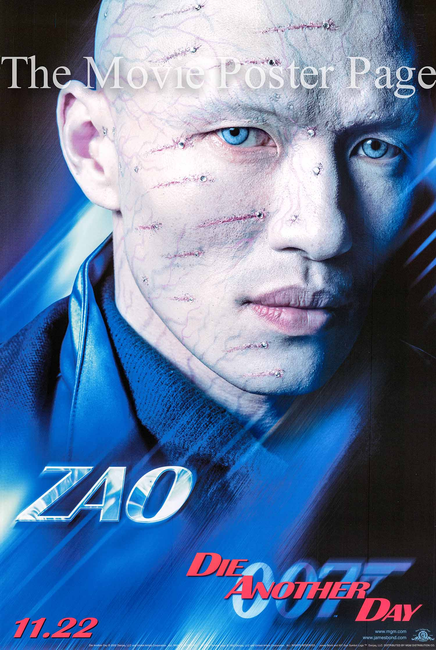 Pictured is a Zao character advance one-sheet poster made to promote the 2002 Lee Tamahori film Die another Day starring Pierce Brosnan as James Bond.