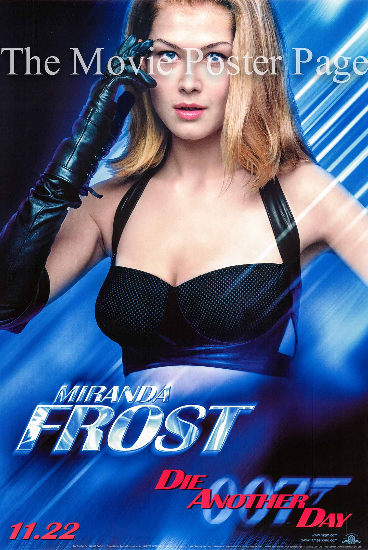 Pictured is a Miranda Frost character advance one-sheet poster made to promote the 2002 Lee Tamahori film Die another Day starring Pierce Brosnan as James Bond.
