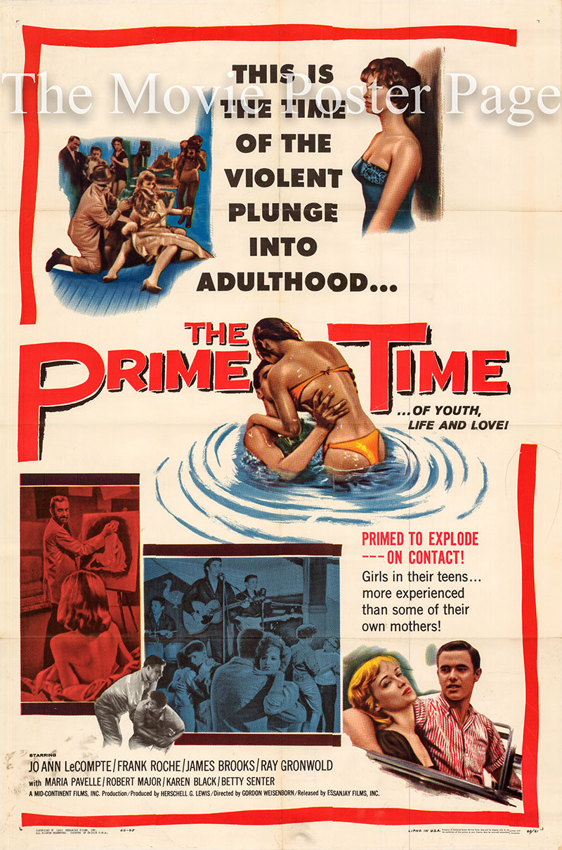 Pictured is a US one-sheet poster for the 1960 Gordon Weisenborn film The Prime Time starring Jo Ann LeCompte as Jean Norton.