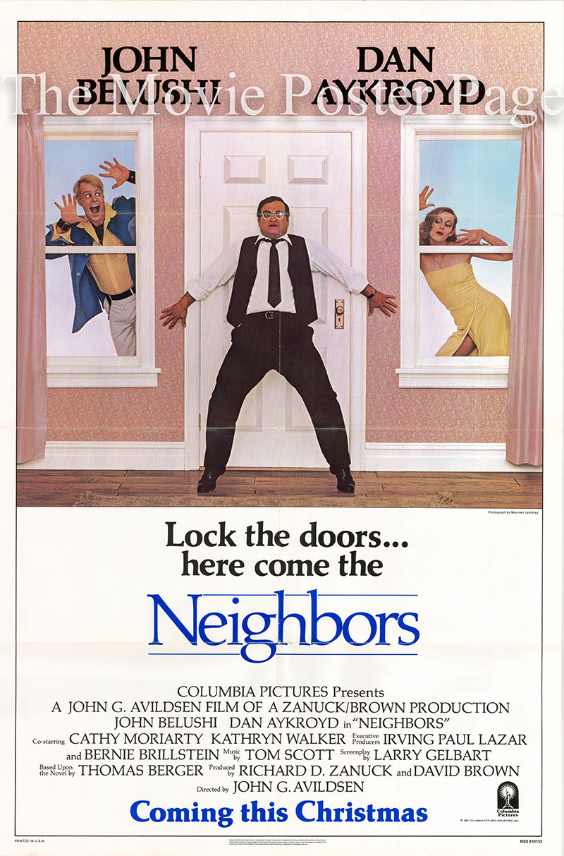Pictured is a US one-sheet poster for the 1981 John G. Avildsen film Neighbors starring John Belushi.