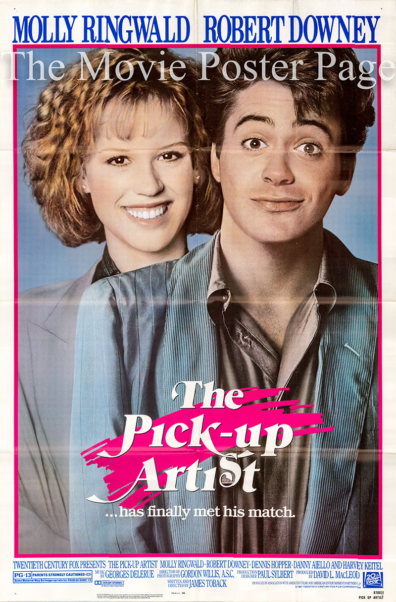 Pictured is a US promotional one-sheet poster for the 1987 James Toback film Pick-up Artist starring Molly Ringwald.