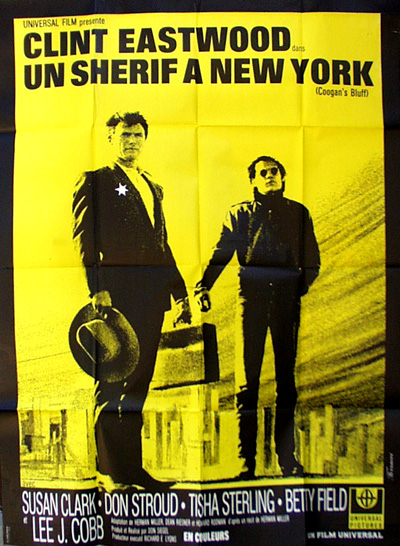Pictured is a Frencyh 47x63 poster of the 1968 Don Siegel film Coogan's Bluff starring Clint Eastwood.