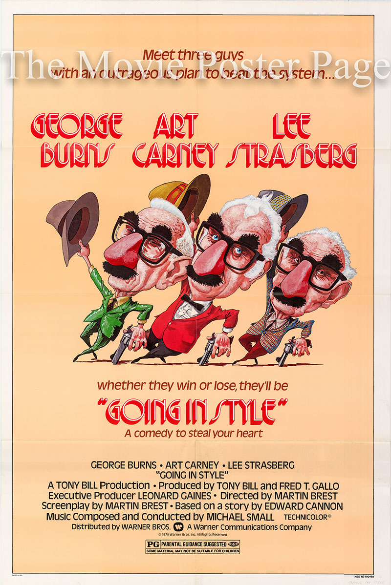 Pictured is a US one-sheet poster for the 1976 Martin Brest film Going in Style starring George Burns.