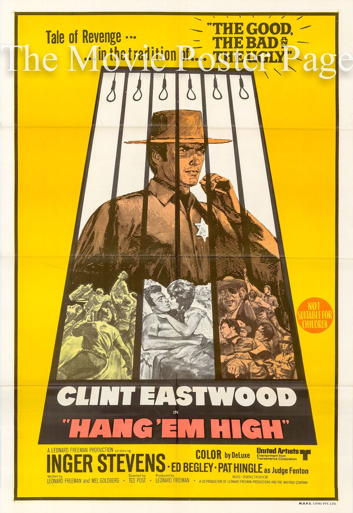 Pictured is an Australian one-sheet poster for the 1968 Ted Post film Hang 'em High starring Clint Eastwood as Marshal Jed Cooper.