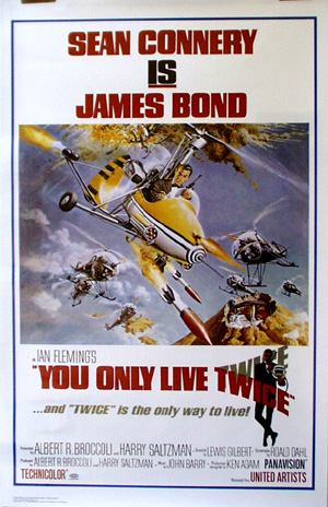 Pictured is a reprint of the Style B US one-sheet promotional poster for the 1967 Lewis Gilbert film You Only Live Twice starring Sean Connery.