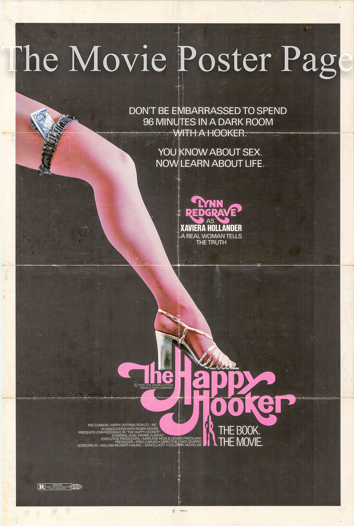 Pictured is a US one-sheet promotional poster for the 1975 Nicholas Sgarro film The Happy Hooker starring Lynn Redgrave as Xaviera Hollander.