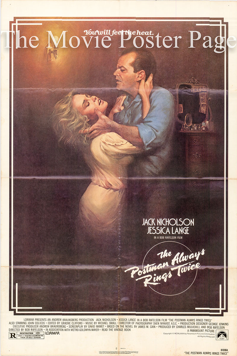 Pictured is a US one-sheet promotional poster for the 1981 Bob Rafelson film The Postman Always Rings Twice, starring Jack Nicholson and Jessice Lange.