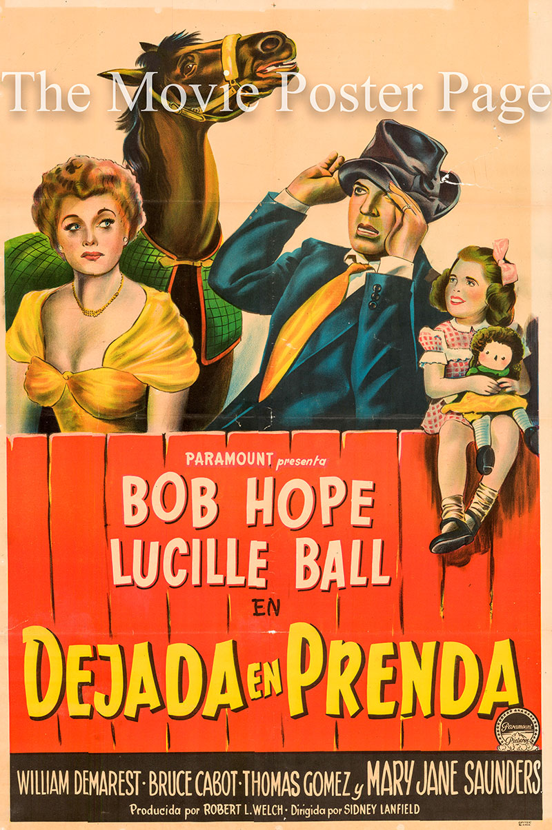Pictured is an Argentine poster for the 1949 Sidney Lanfield film Sorrowful Jones starring Bob Hope as Humphrey Jones.