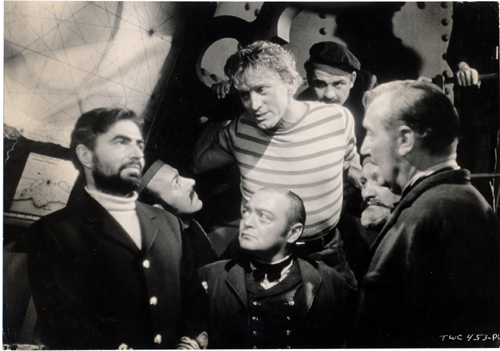 Pictured is a US promotional still photo from the 1954 Richard Fleischer film Twenty Thousand Leagues under the Sea starring Kirk Douglas and James Mason.
