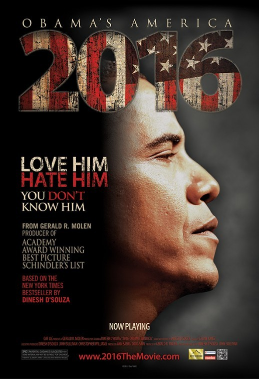 Pictured is a US one-sheet promotional poster for the 2012 Dinesh D'Sousa documentary film 2016:Obama's America.