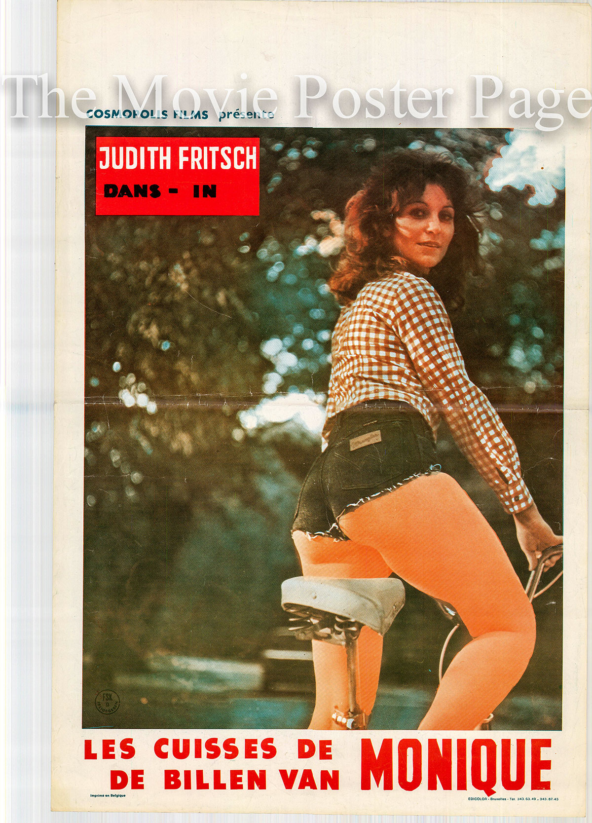 Pictured is a Belgian promotional poster for the 1981 Eddy Saller film Les Cuisses de Monique starring Judith Fritsch.