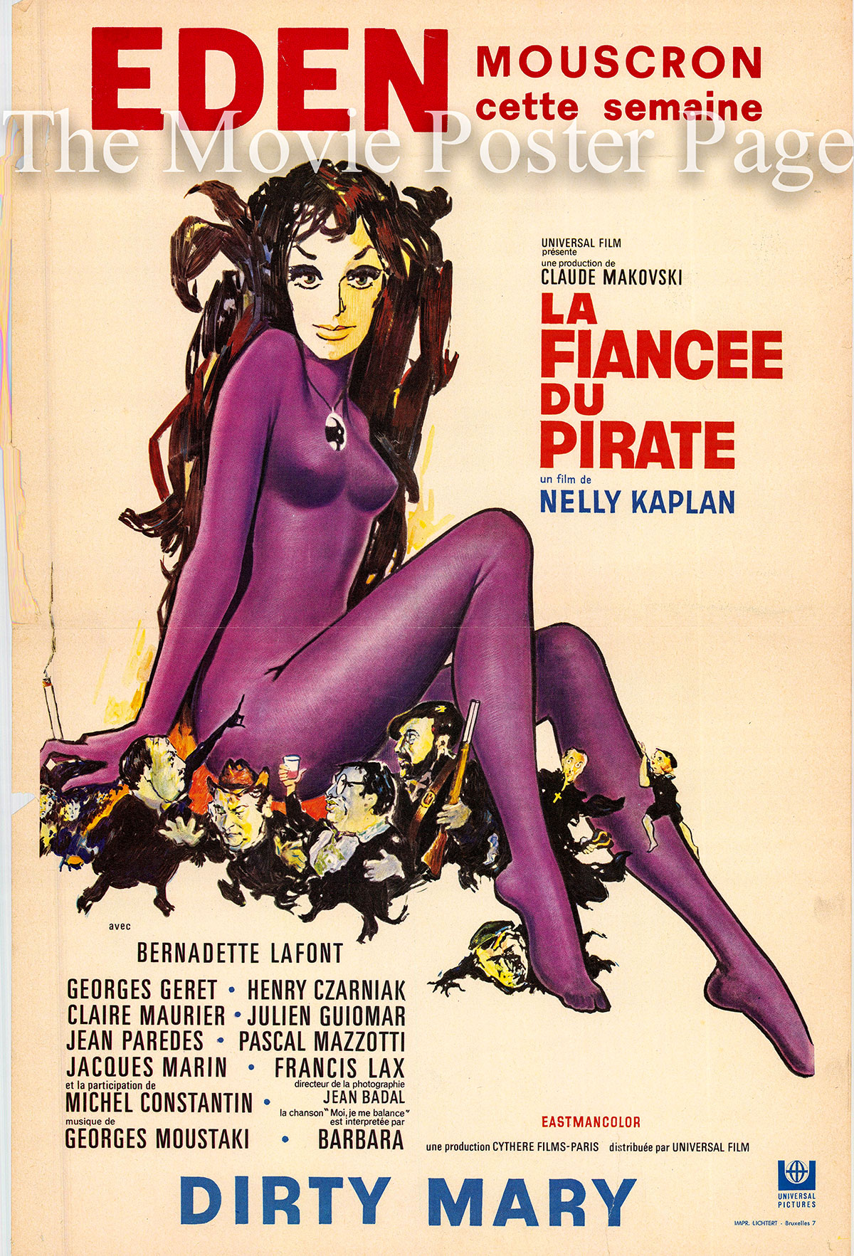 Pictured is a Belgian poster for the 1969 Nelly Kaplan film Dirty Mary starring Bernadette Lafont.