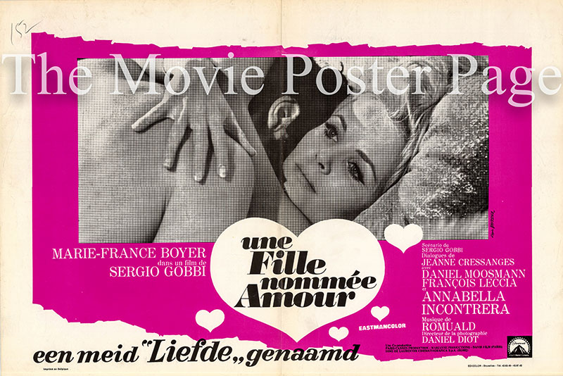 PIctured is a Belgian promotional poster for the 1969 Sergio Gobbi film A Girl Called Love starring Marie-France Boyer as Corinne.