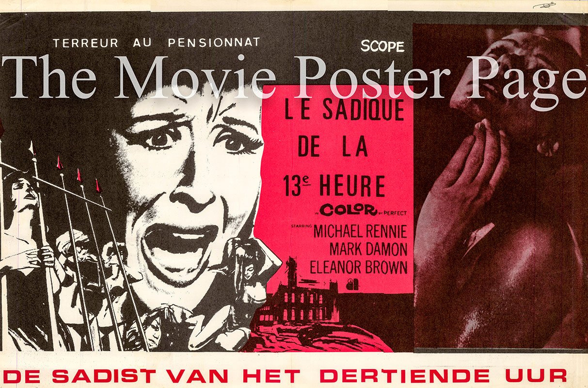 Pictured is a Belgian promotional poster for the 1968 Antonio Margheriti film School Girl Killer, starring Mark Damon as Richard Barrett.