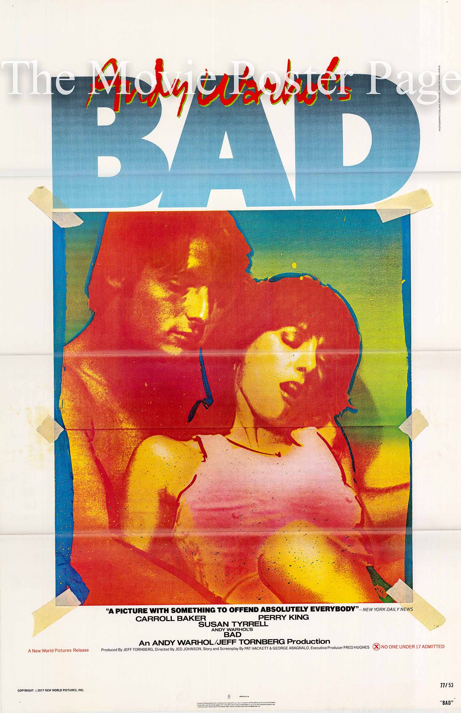 Pictured is a US promotional poster for the 1977 Jed Johnson film Andy Warhol's Bad, starring Cyrinda Foxe.