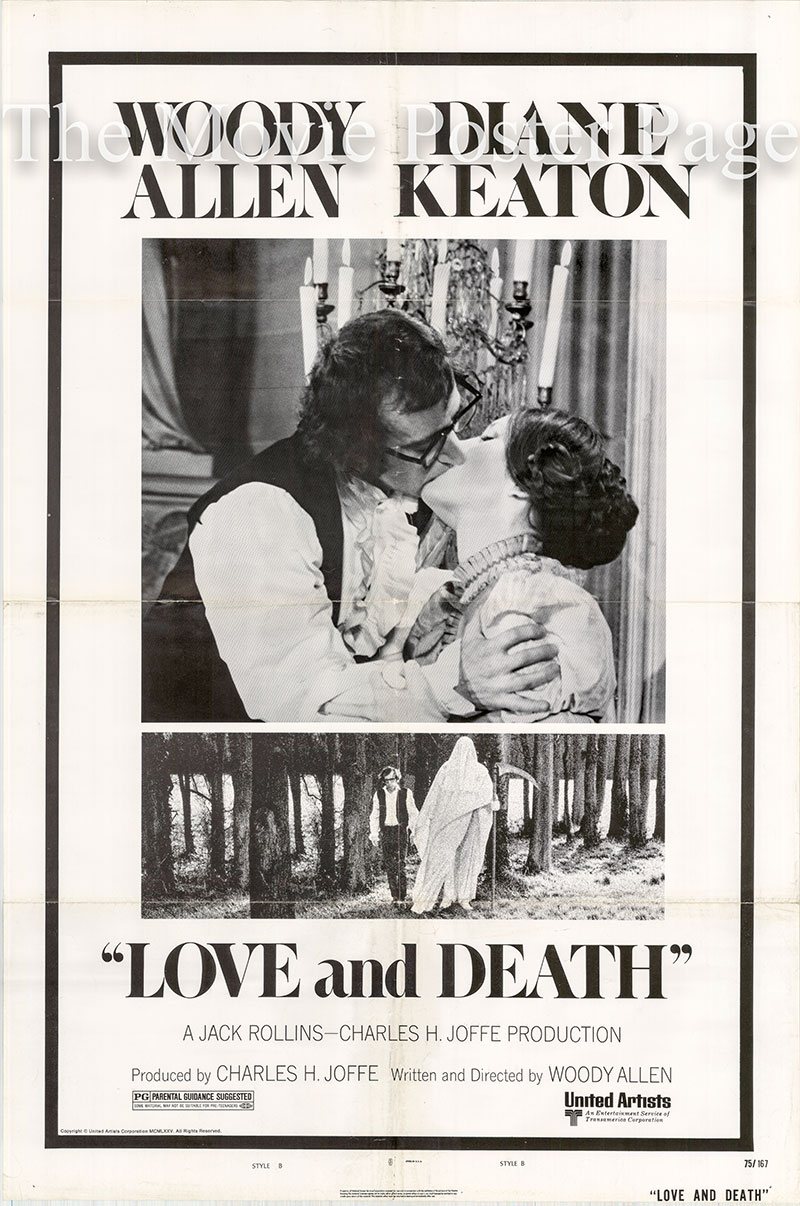 Pictured is a US one-sheet promotional poster for the 1974 Woody Allen film Love and Death starring Woody Allen and Diane Keaton.