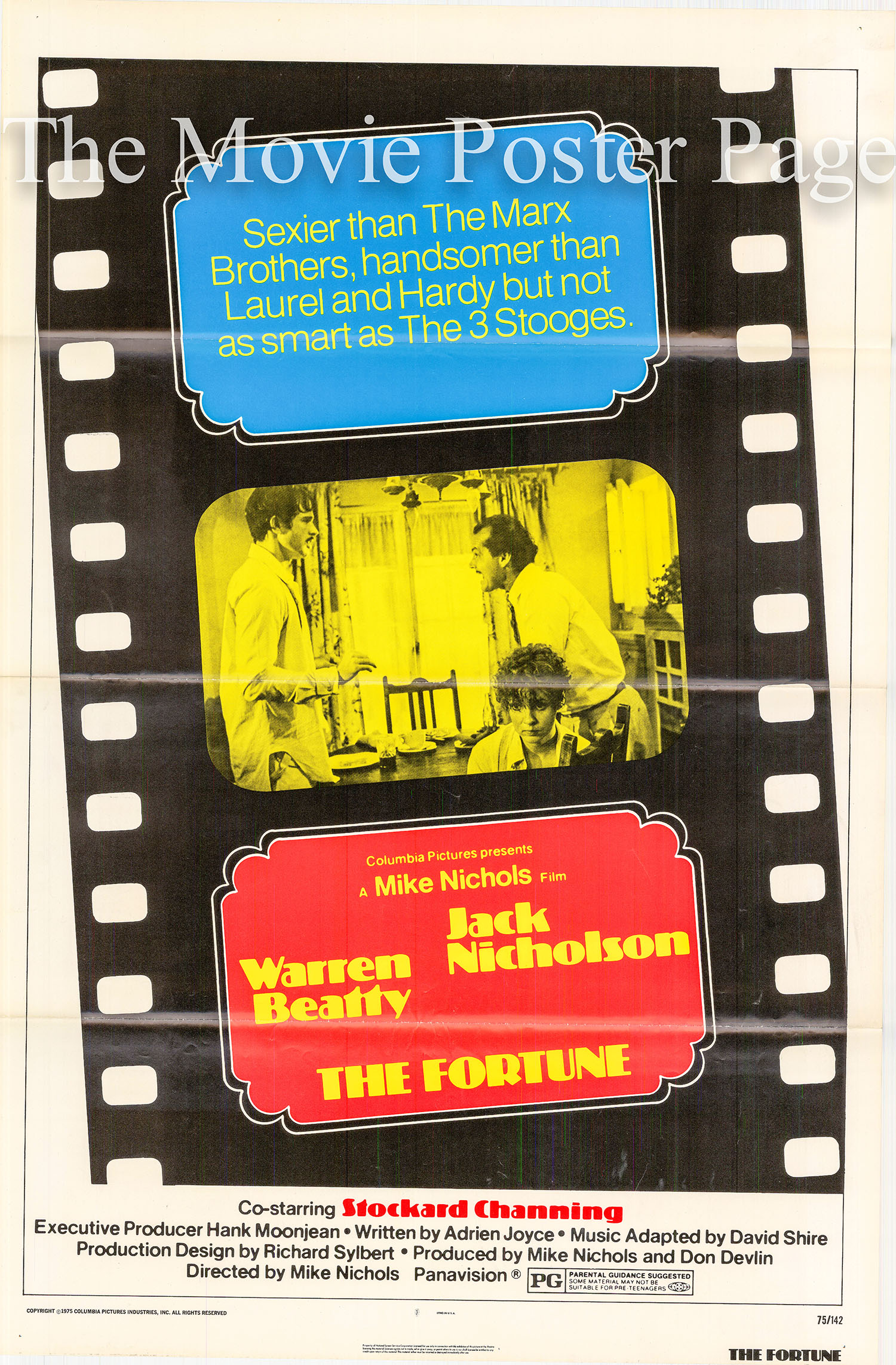 Pictured is a US one-sheet promotional poster for the 1975 Mike Nichols film The Fortune starring Jack Nicholson as Oscar.