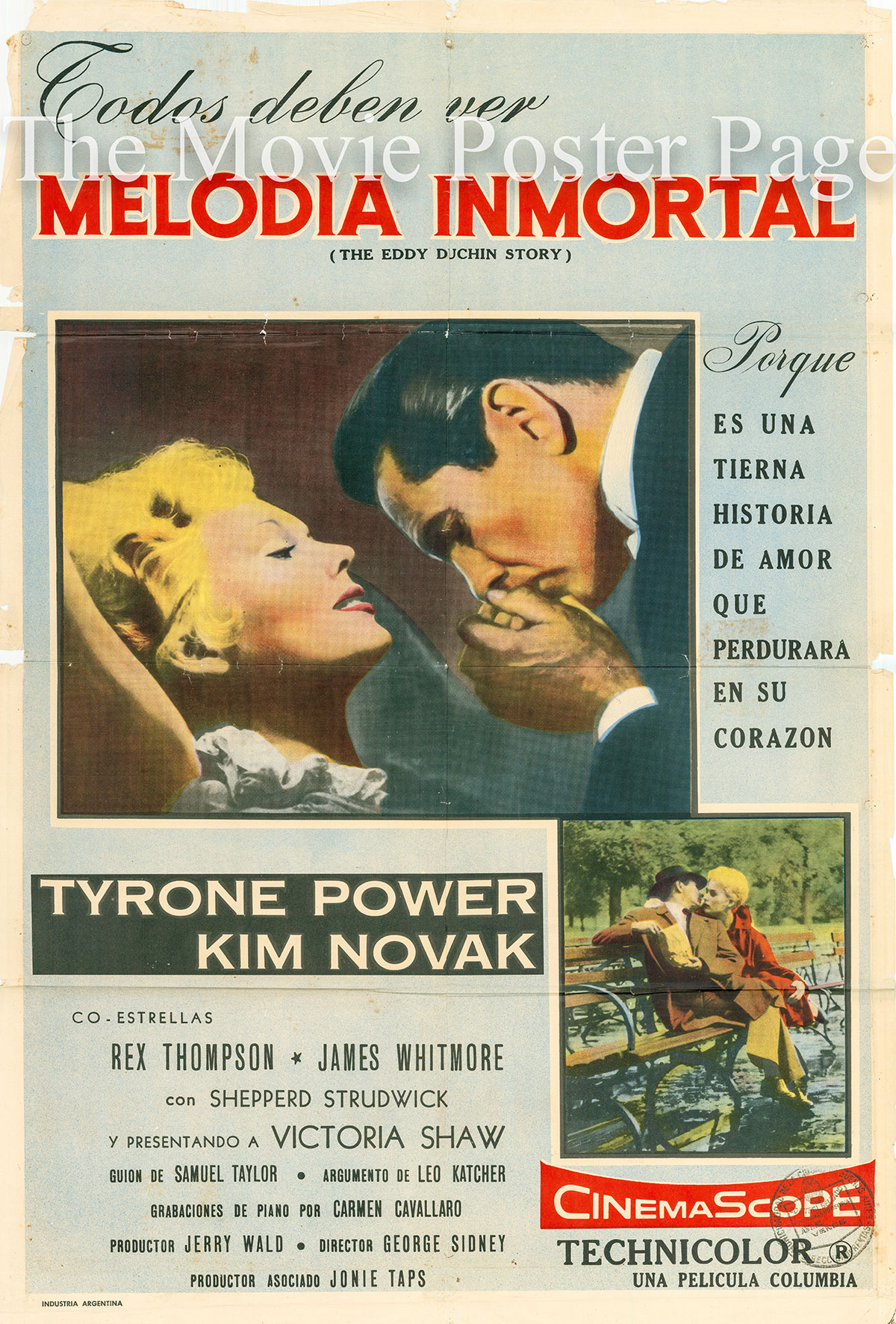 Pictured is an Argentine one-sheet poster for the 1956 George Sidney film The Eddy Duchin Story starring Tyrone Power as Eddy Duchin.