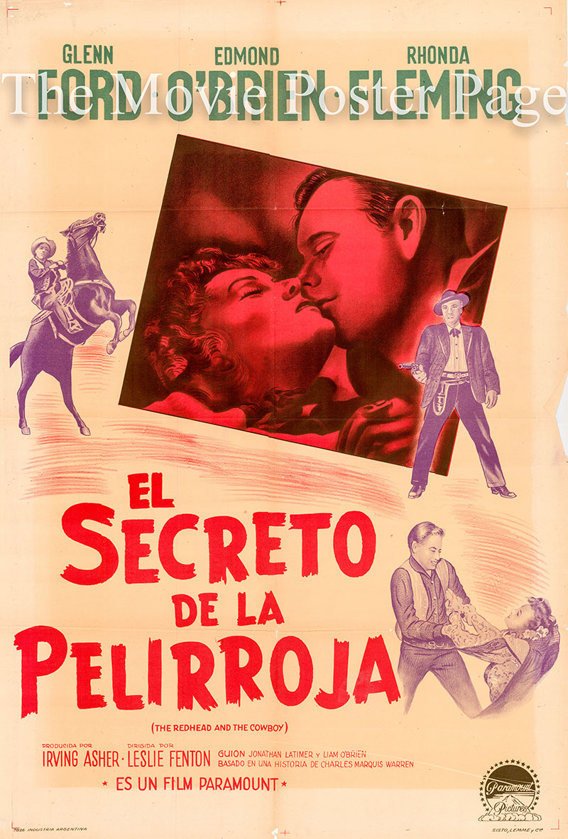 Pictured is an Argentine promotional poster for the 1951 Leslie Fenton film The Redhead and the Cowboy starring Rhonda Fleming and Glenn Ford.