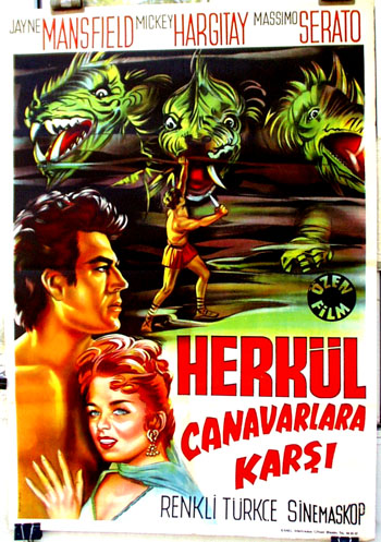 Pictured is a Turkish promotional poster for a 1966 rerelease of the 1960 Carlo Ludovico Bragaglia film The Loves of Hercules, starring Jayne Mansfield.
