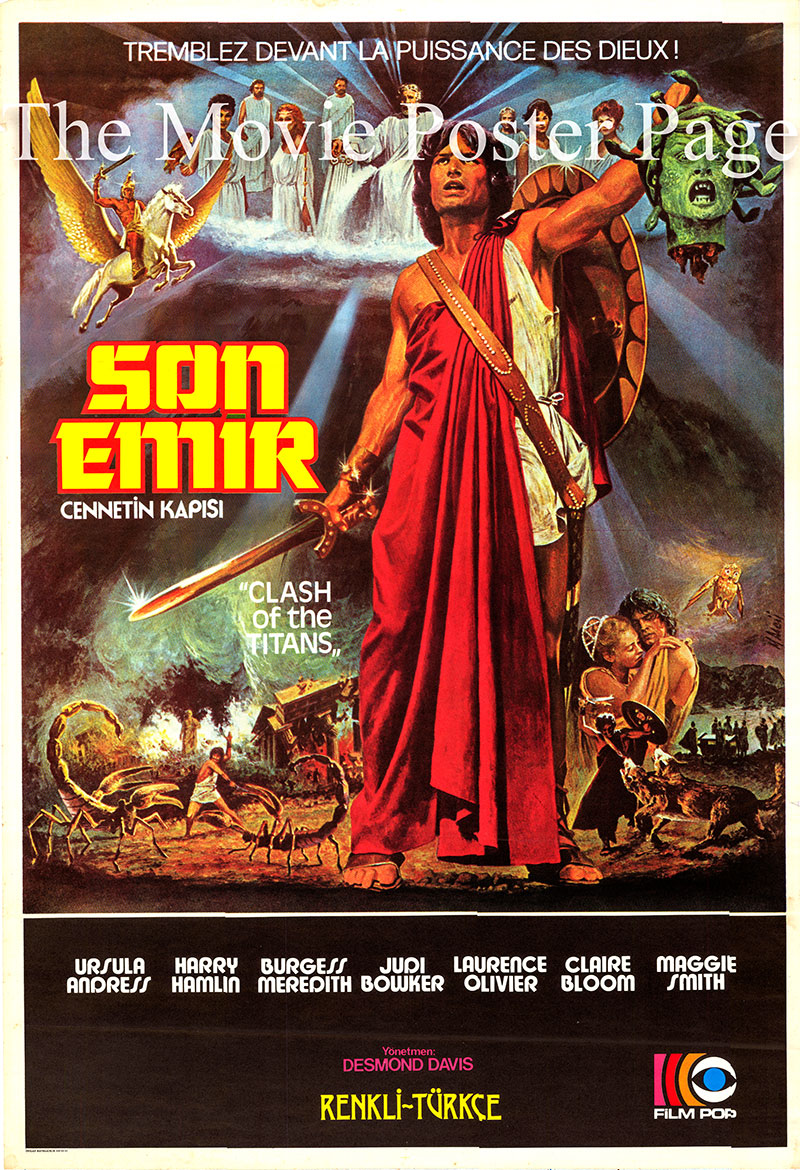 Pictured is a Turkish poster for the 1981 Desmond Davis film Clash of the Titans starring Harry Hamlin as Perseus.