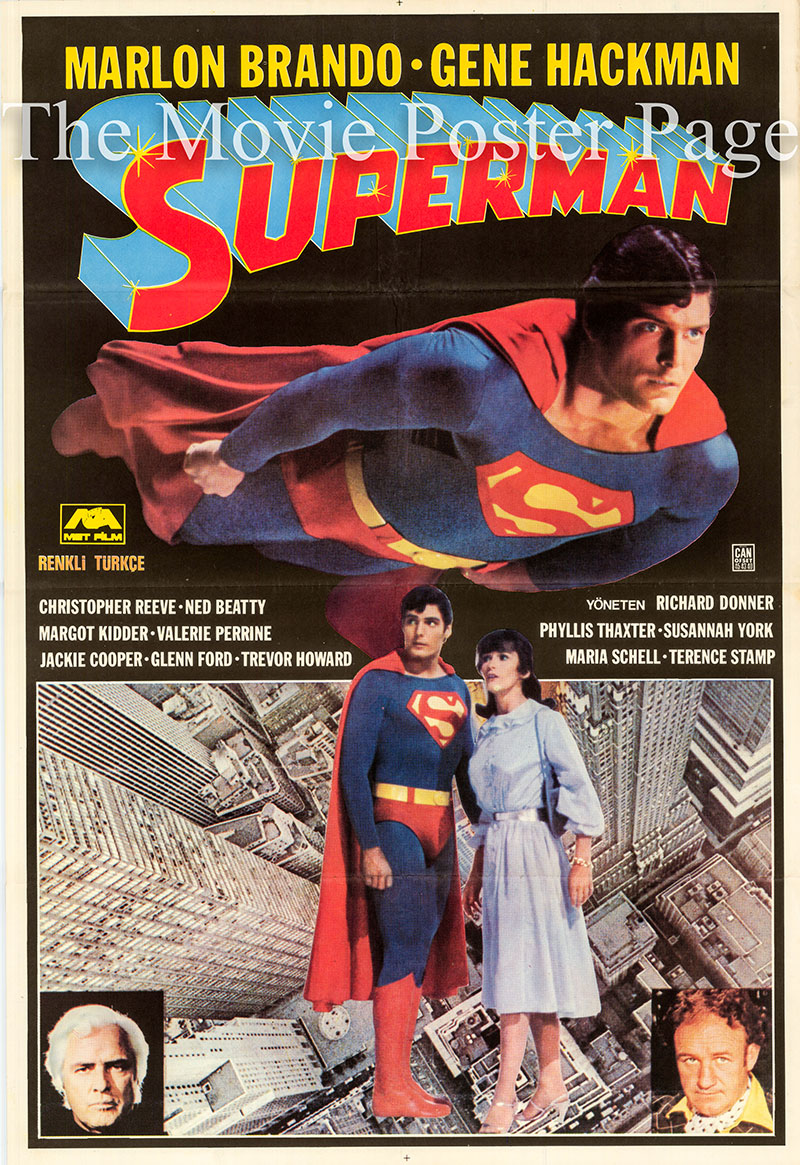 Pictured is a Turkish one-sheet poster for the 1978 Richard Donner film Superman starring Christopher Reeve as Superman.