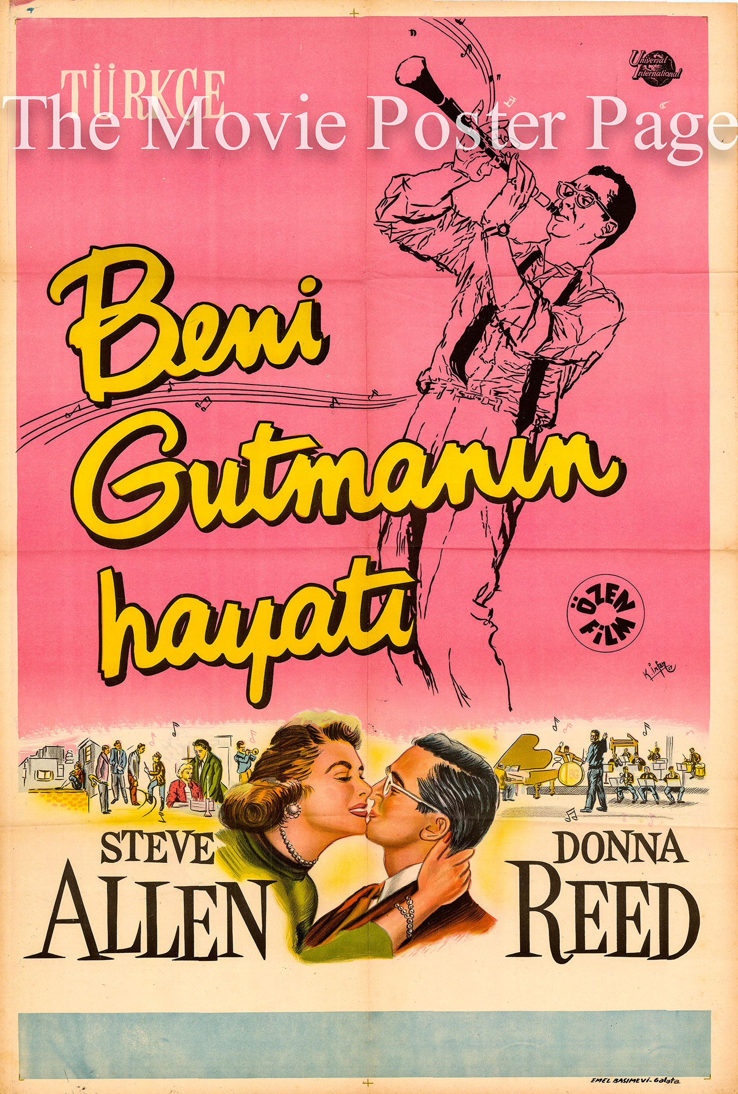 Pictured is a Turkish one-sheet poster for the 1955 Valentine Davies film The Benny Goodman Story starring Steve Allen as Benny Goodman.
