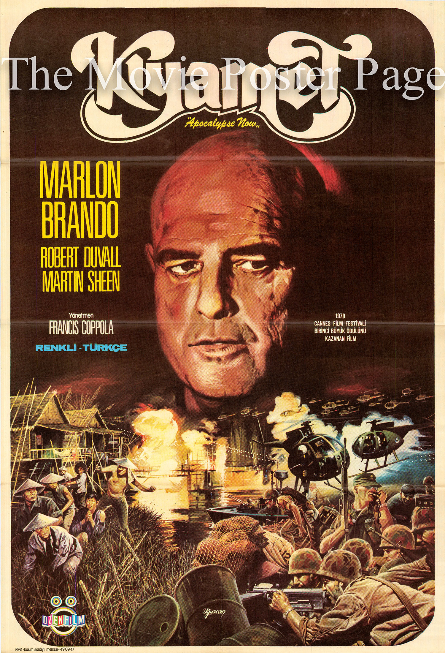 Pictured is a Turkish promotional poster for the 1979 Francis Ford Coppola film Apocalypse Now starring Marlon Brando.