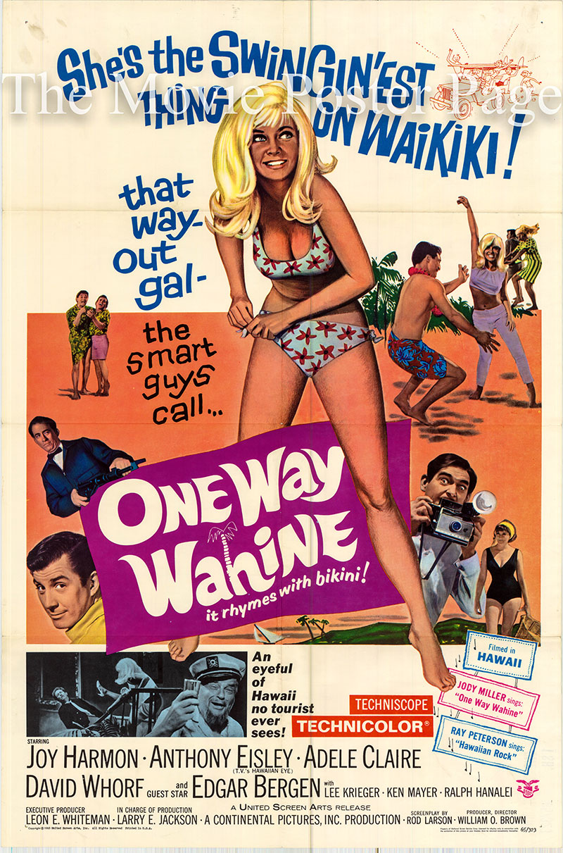 Pictured is a US one-sheet poster for the 1965 William O. Brown film One-Way Wahini starring Joy Harmon.