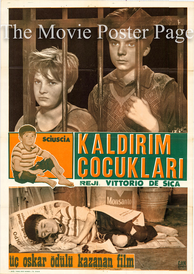 Pictured is a Turkisn one-sheet poster for a 1960s rerelease of the 1946 Vittorio de Sica film Shoeshine starring Rinaldo Smordoni As giseppe Filippucci.