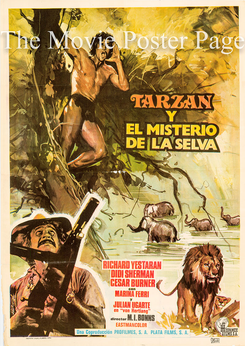 Pictured is a Spanish one-sheet poster for the 1973 Miguel Iglesias film Green Inferno starring Jose Luis Ayesteran (Richard Yesteran) as Tarzan.