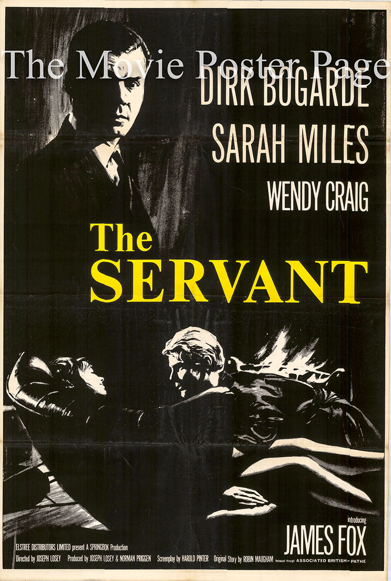 Pictured is a UK one-sheet poster for the 1963 Joseph Losey film The Servant starring Dirk Bogarde as Barrett.