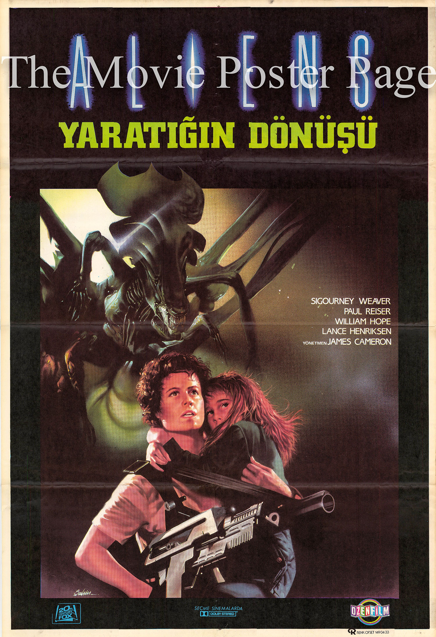 Pictured is a Turkish one-sheet poster for the 1986 James Cameron film Aliens starring Sigourney Weaver.